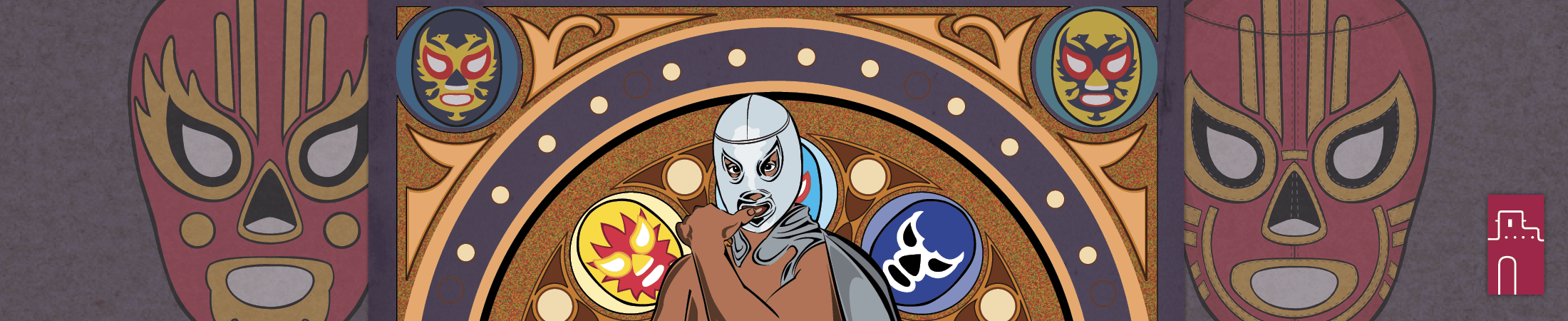 Illustration of the iconic Mexican Wrestler El Santo wearing his mask and cape