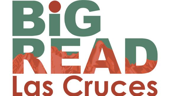 Text: Big Read Las Cruces with Mountains showing through Text