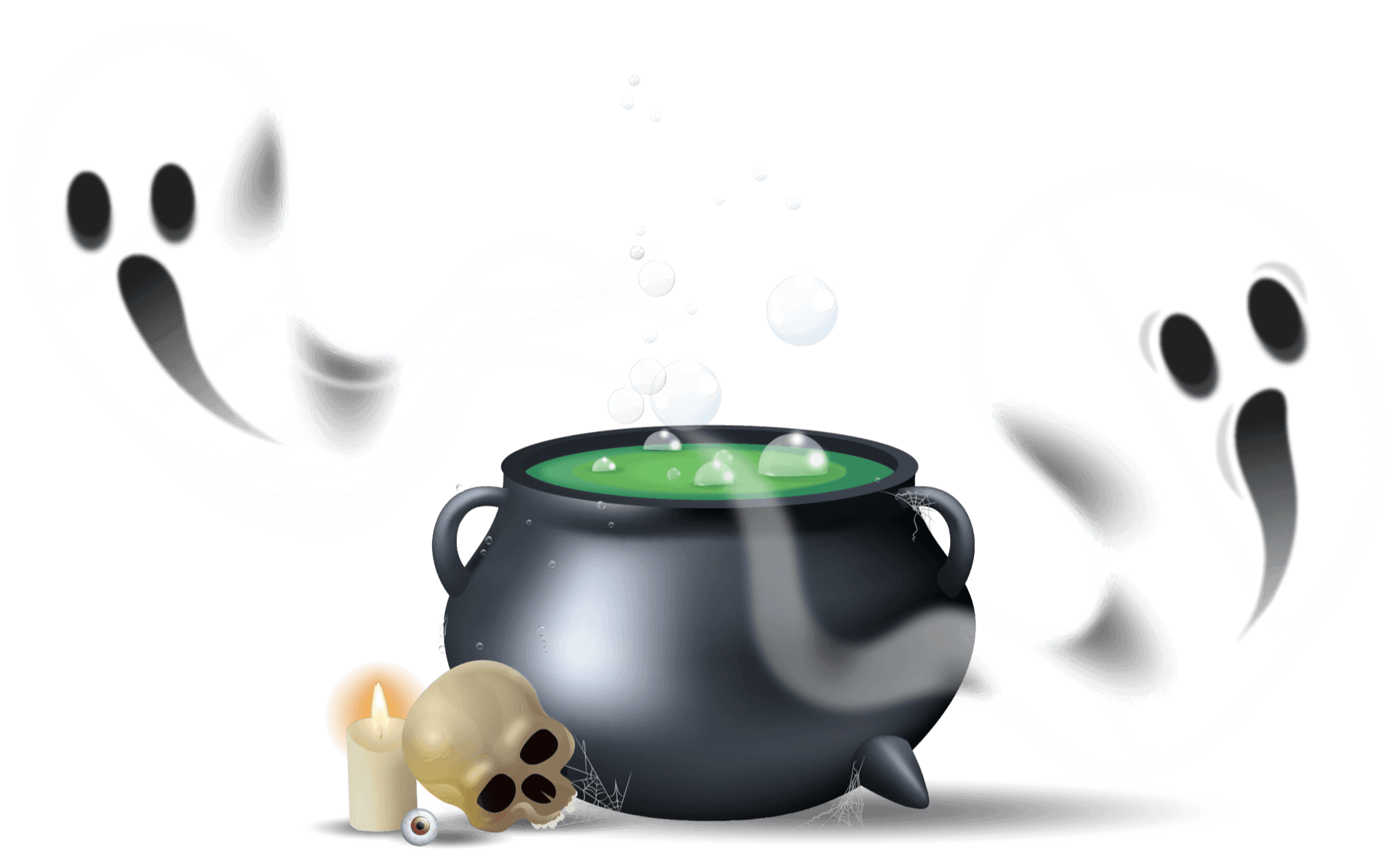 Illustration o a witches cauldron with 2 ghost coming out if it