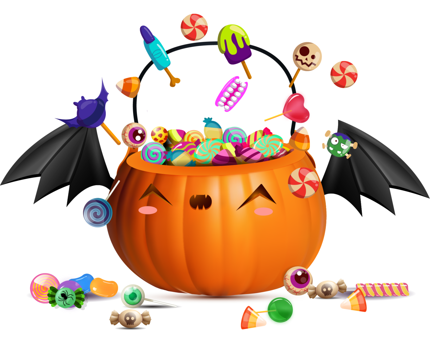 Illustration of a pumpkin Jack-O'-lantern overflowing with candy